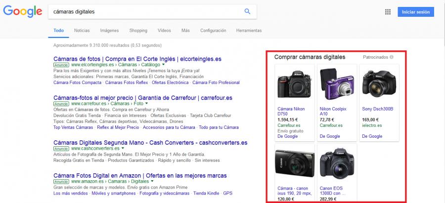 Página resultados de pago SEM a la derecha en buscadores
